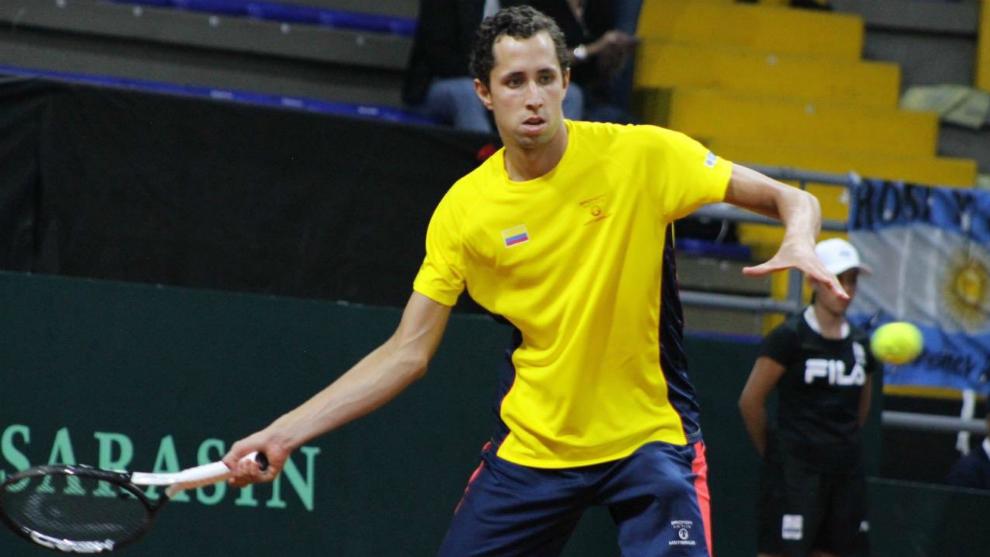 Daniel Galán durante su partido ante Mayer