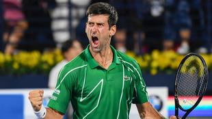 Djokovic festeja a todo pulmón una victoria.