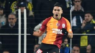 Falcao celebra un gol con el Galatasaray.