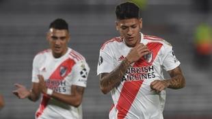 Jorge Carrascal celebra su gol contra Binacional en Copa Lbertadores.