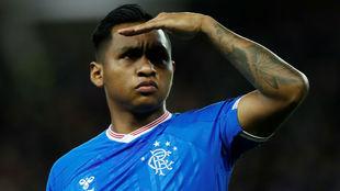 Alfredo Morelos durante el duelo ante el Bayer Leverkusen de la Europa...