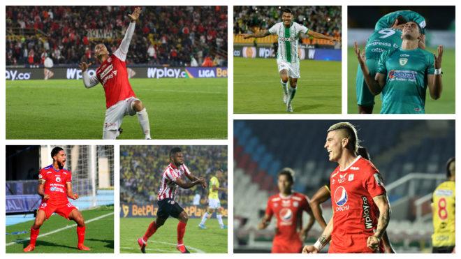 Delanteros de la Liga BetPlay festejan algunos goles.