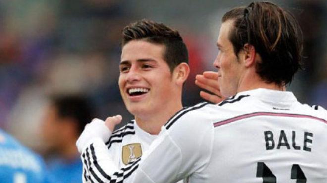 James y Bale celebran un gol con el Madrid.