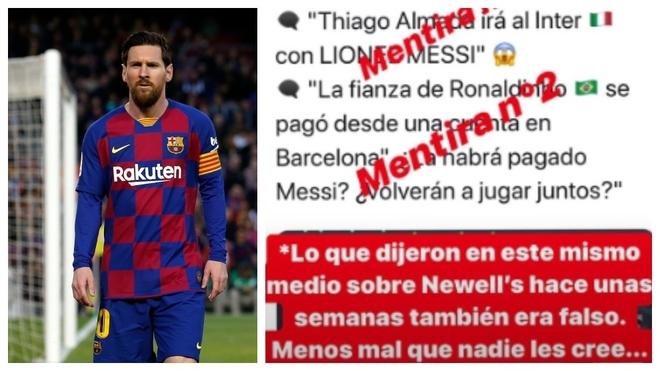 Messi volvió a enfrentarse con una cuenta que publicó una noticia falsa sobre él.