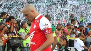 Omar Pérez, en un partido contra Atlético Nacional.