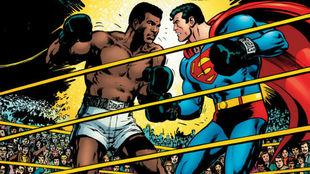 La imagen en la que Ali pelea con Superman.