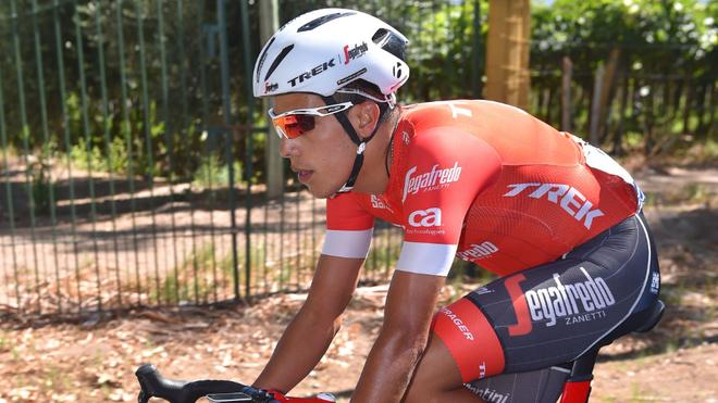 Jarlinson durante una etapa de la Vuelta a San Juan en 2018.