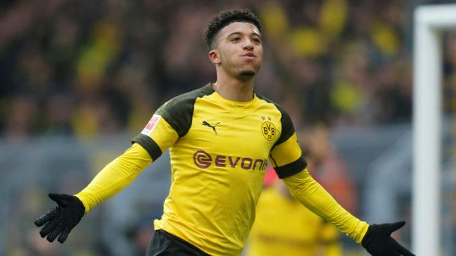 Jadon Sancho, tras marcar un gol con el Dortmund