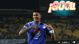 Ortiz festeja un gol con Millonarios.