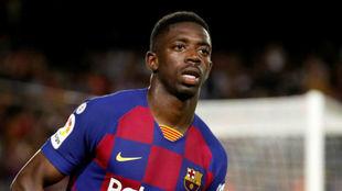 Dembélé, durante un partido con el Barcelona