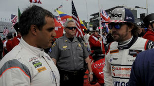 Juan Pablo Montoya y Fernando Alonso, en las 24 Horas de Daytona 2018.