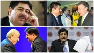Luis Bedoya en varias etapas de su carrera como presidente de la...