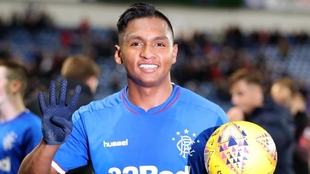 Alfredo Morelos, después de anotar cuatro goles en un partido con el...