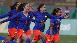 Colombia celebrando la medalla de oro en los Juegos Panamericanos del...