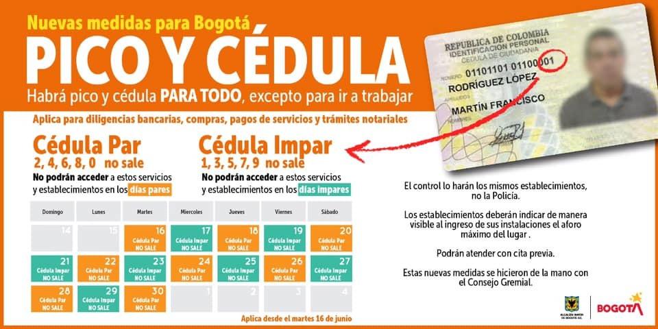 Coronavirus en Colombia: Así funcionará el pico y cédula en Bogotá del 30 de junio al 5 de julio de 2020 1