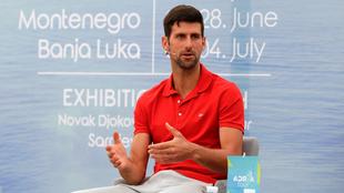 Novak Djokovic durante una rueda de prensa antes del 'Adria...