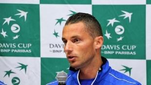 Tosmislav Brkic, durante una rueda de prensa de la Copa Davis.
