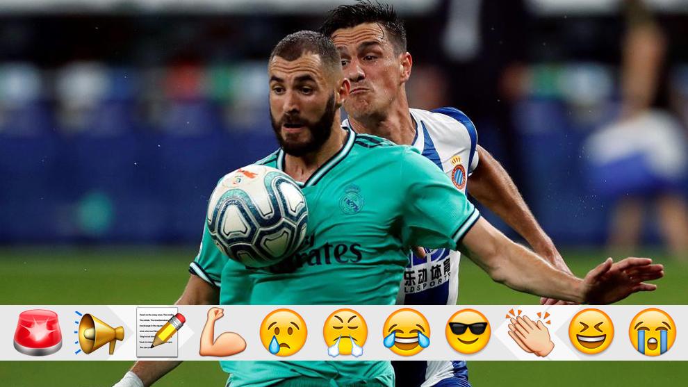 Karim Benzema controla el balón durante el partido contra el...