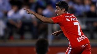 Acá la foto de su último gol con el equipo. Fue en la Libertadores.