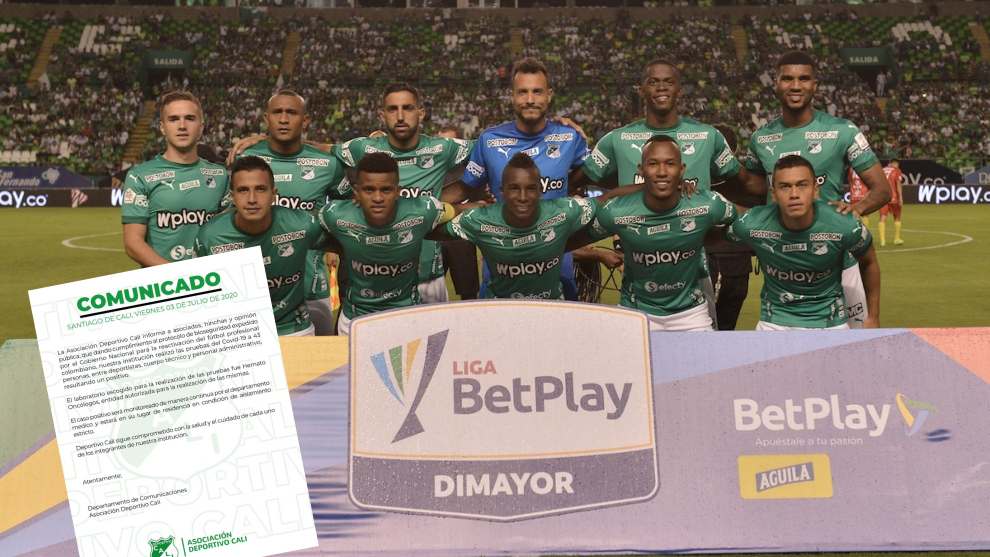 Equipo del Deportivo Cali antes de un partido y el comunicado en el...