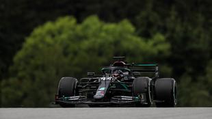 Hamilton durante el último ensayo libre para el Gran Premio de...