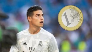 James Rodríguez antes de un partido con el Real Madrid y una moneda...