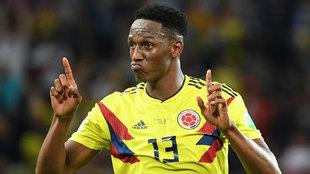 Yerry Mina, en un partido de la selección Colombia