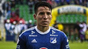 Óscar Barreto, antes de un partido con Millonarios