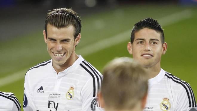 Bale y James, durante un partido con el Real Madrid