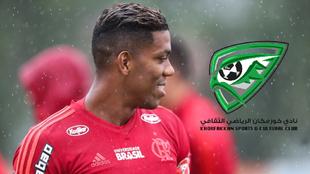 Orlando Berrío en un entrenamiento con Flamengo.