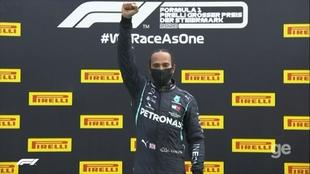 Hamilton y su celebración tras ganar en Estiria