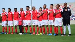 Jugadores del Barranquilla FC, antes de un partido.