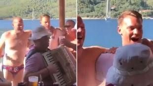 Neuer cantando una canción de un grupo fascista