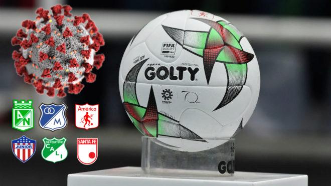 Balón del fútbol colombiano y escudos de varios equipos junto a la...