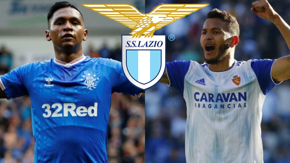 Alfredo Morelos y Luis Suárez, junto al escudo de la Lazio de la...