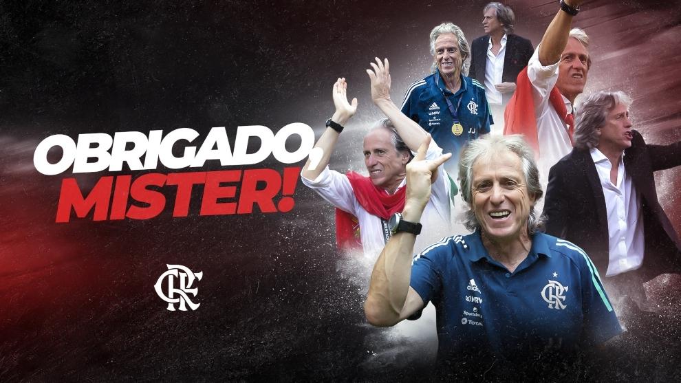 Póster de despedida del Flamengo para Jorge Jesús