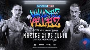 Póster oficial de la pelea entre Óscar Valdez: y Jayson Vélez.