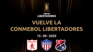 Logo de la Copa Libertadores y los equipos colombianos participantes...