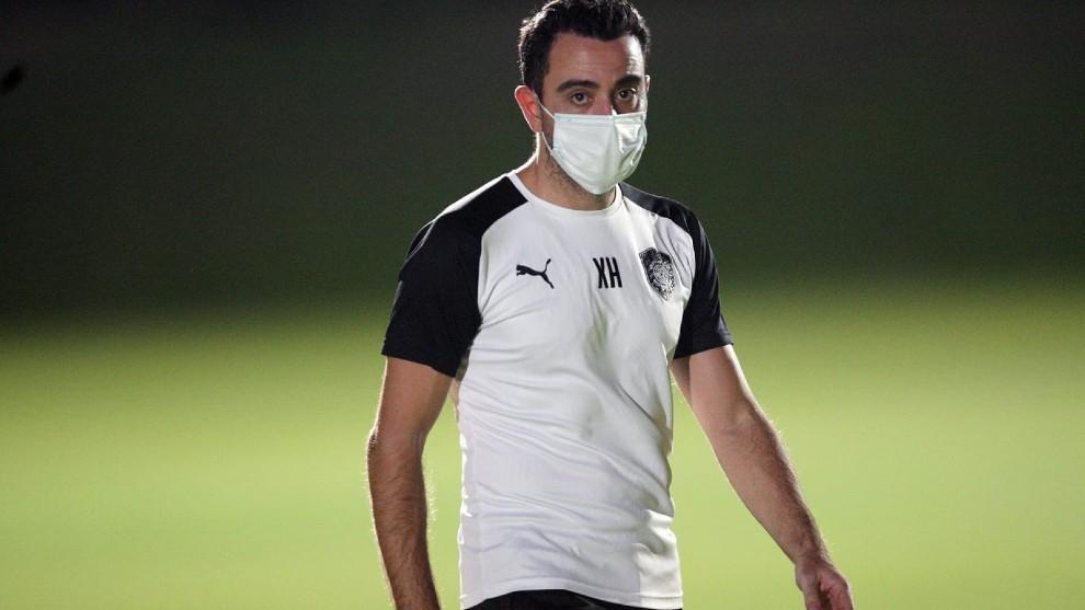 Xavi Hernández, durante un entrenamiento con el Al Sadd