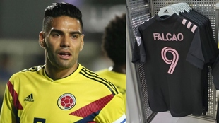 Collage de Falcao y su supuesta camiseta del Inter Miami.