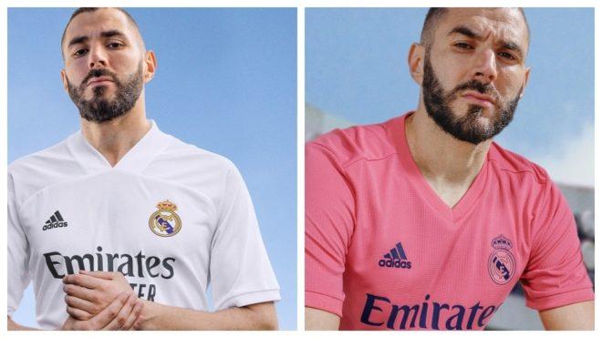 Benzema muestra la nueva equipación del Real Madrid