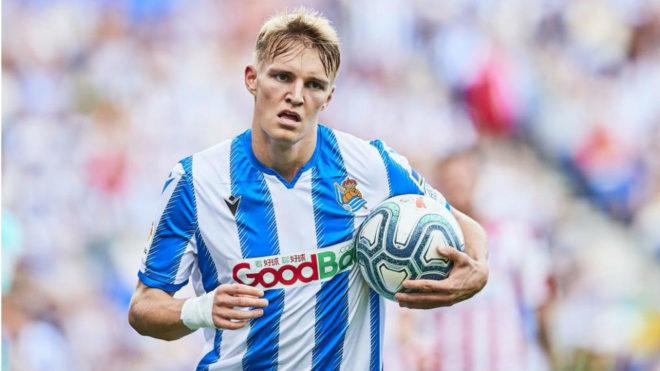 Odegaard, tras marcar un gol con la Real Sociedad
