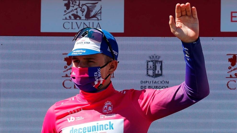 Remco Evenepoel celebra el triunfo en la Vuelta a Burgos.