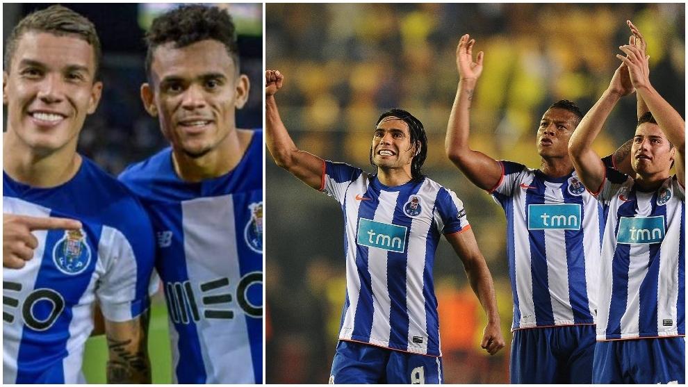 Collage de los colombianos en el Oporto en 2020 y en 2011.