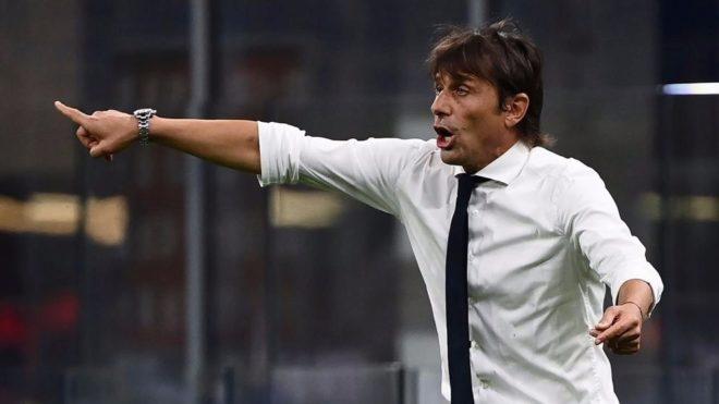 Conte, durante un partido con el Inter