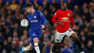Pulisic, durante un partido con el Chelsea