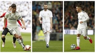 Marco Asensio, Karim Benzema y Eden Hazard.