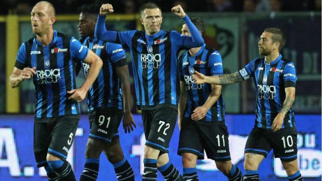 Ilicic festeja un gol con el Atalanta esta temporada