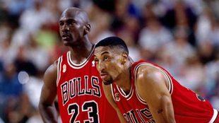 Michael Jordan y Scottie Pippen con los Bulls.
