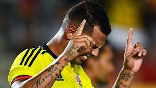 Edwin, durante un juego con la selección colombiana.